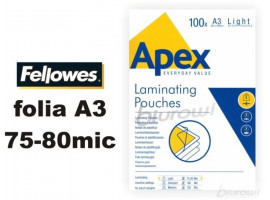 FOLIA LAMINACYJNA A3 2* 80MIC APEX Fellowes